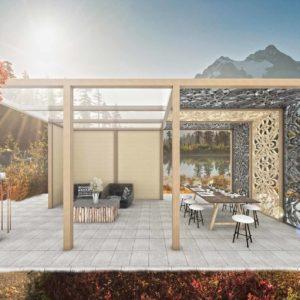 Pergola ogrodowa z nowoczesnymi panelami CNC