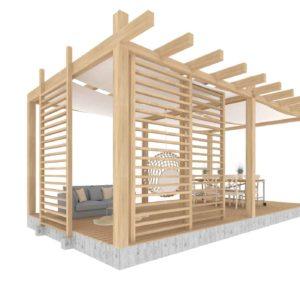 pergola ogrodowa z przesiewnymi drewnianymi panelami oraz zadaszeniem z materiału